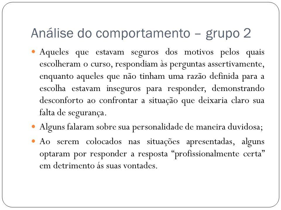 Análise do comportamento – grupo 2 Aqueles que estavam seguros dos motivos pelos quais escolheram o curso, respondiam às perguntas assertivamente, enq
