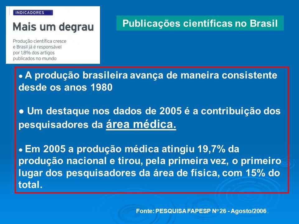 A produção brasileira avança de maneira consistente desde os anos 1980 Um destaque nos dados de 2005 é a contribuição dos pesquisadores da área médica.
