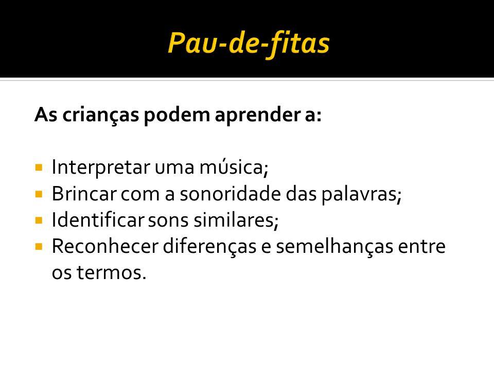 As crianças podem aprender a: Interpretar uma música; Brincar com a sonoridade das palavras; Identificar sons similares; Reconhecer diferenças e semel