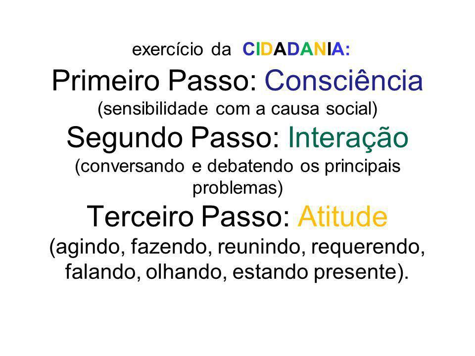 exercício da CIDADANIA: Primeiro Passo: Consciência (sensibilidade com a causa social) Segundo Passo: Interação (conversando e debatendo os principais
