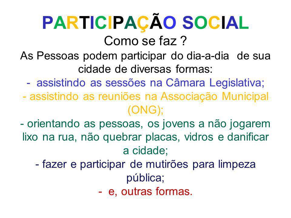 PARTICIPAÇÃO SOCIAL Como se faz ? As Pessoas podem participar do dia-a-dia de sua cidade de diversas formas: - assistindo as sessões na Câmara Legisla