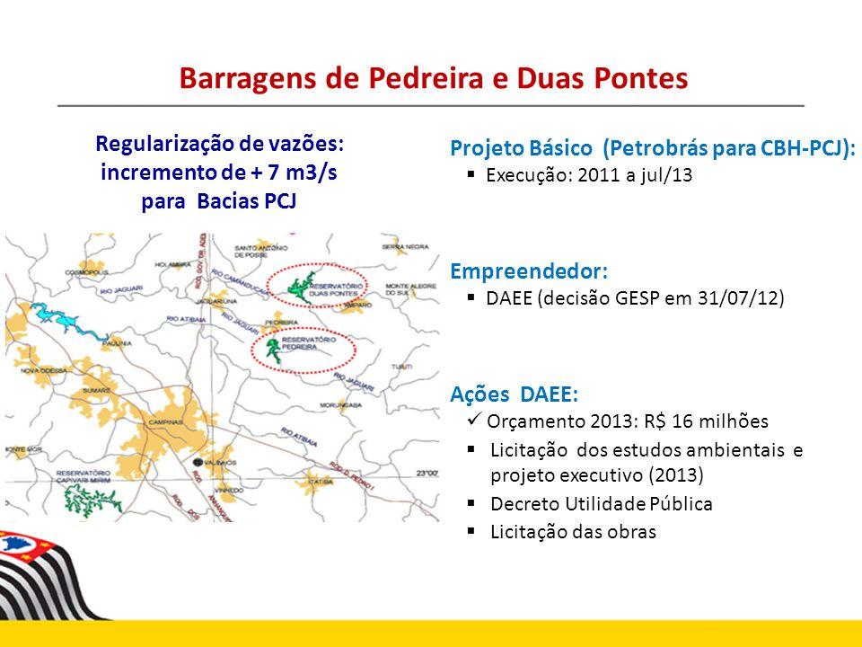 Projeto Básico (Petrobrás para CBH-PCJ): Execução: 2011 a jul/13 Empreendedor: DAEE (decisão GESP em 31/07/12) Ações DAEE: Orçamento 2013: R$ 16 milhõ