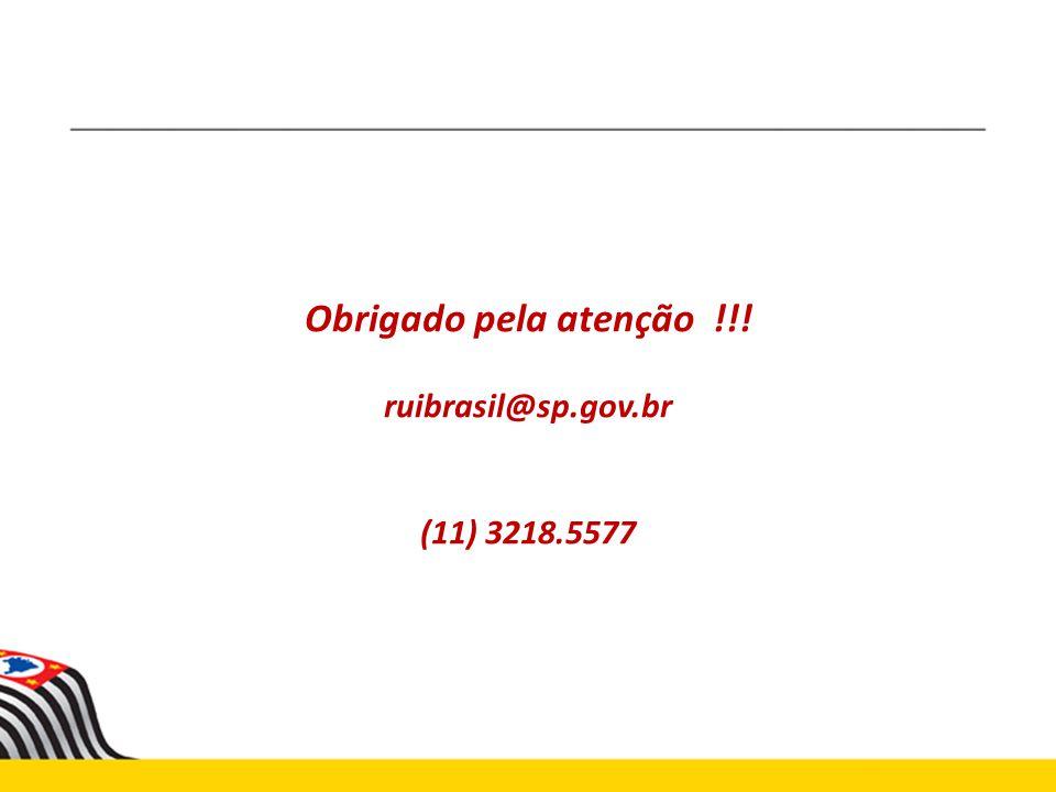 Obrigado pela atenção !!! ruibrasil@sp.gov.br (11) 3218.5577