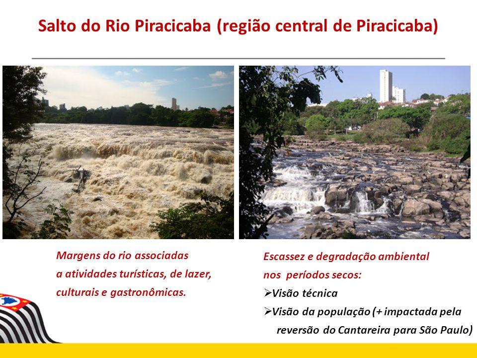 Salto do Rio Piracicaba (região central de Piracicaba) Margens do rio associadas a atividades turísticas, de lazer, culturais e gastronômicas. Escasse