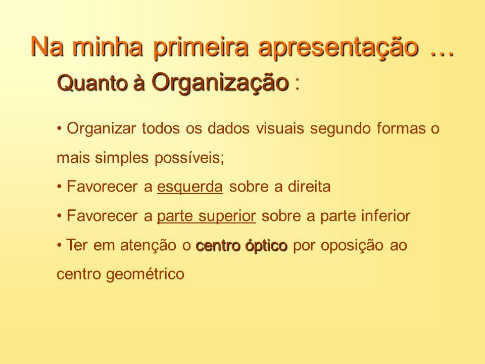 Na minha primeira apresentação … Quanto à Organização Quanto à Organização : Texto Este é o primeiro ponto Este é o segundo ponto Este é o terceiro po
