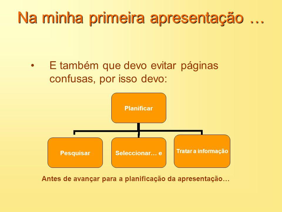 Na minha primeira apresentação … Aprendi que os conteúdos devem ser transmitidos de forma: –Clara –Inequívoca –Organizada –Motivadora