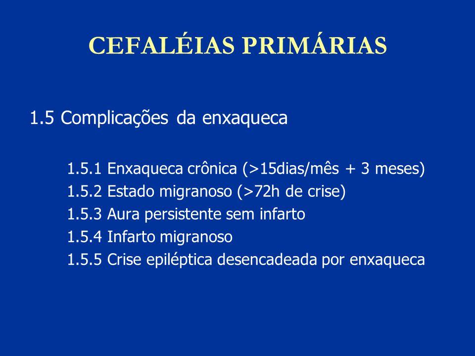 CEFALÉIAS PRIMÁRIAS 1.5 Complicações da enxaqueca 1.5.1 Enxaqueca crônica (>15dias/mês + 3 meses) 1.5.2 Estado migranoso (>72h de crise) 1.5.3 Aura pe