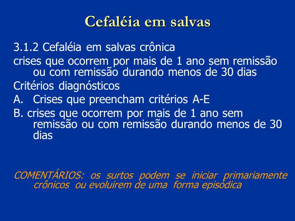 Cefaléia em salvas 3.1.2 Cefaléia em salvas crônica crises que ocorrem por mais de 1 ano sem remissão ou com remissão durando menos de 30 dias Critéri