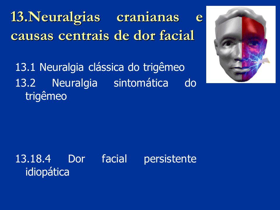 13.Neuralgias cranianas e causas centrais de dor facial 13.1 Neuralgia clássica do trigêmeo 13.2 Neuralgia sintomática do trigêmeo 13.18.4 Dor facial