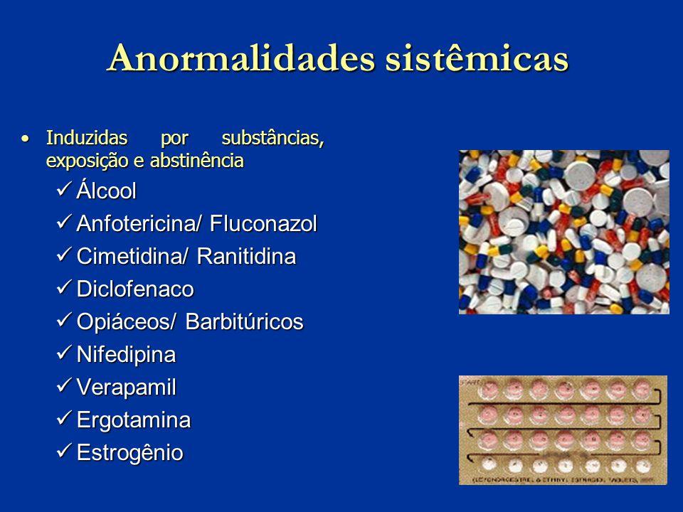 Anormalidades sistêmicas Induzidas por substâncias, exposição e abstinênciaInduzidas por substâncias, exposição e abstinência Álcool Álcool Anfoterici