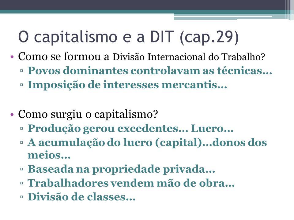 O capitalismo e a DIT (cap.29) Como se formou a Divisão Internacional do Trabalho.