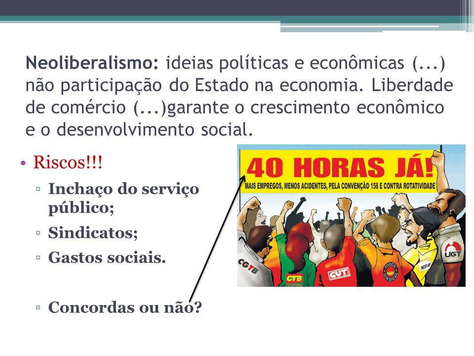 Neoliberalismo: ideias políticas e econômicas (...) não participação do Estado na economia.