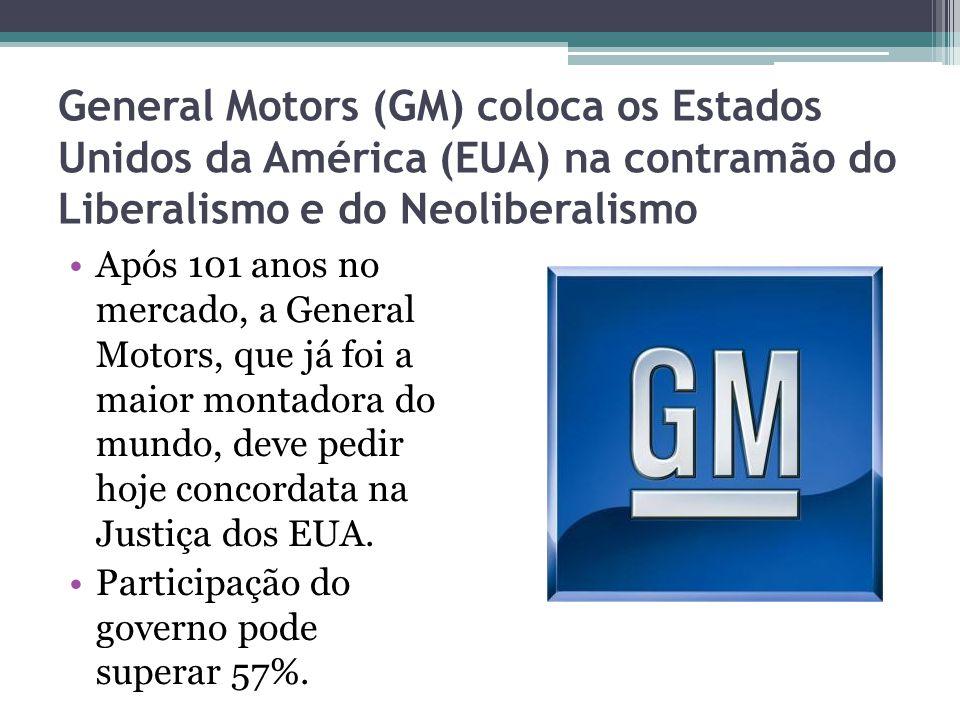General Motors (GM) coloca os Estados Unidos da América (EUA) na contramão do Liberalismo e do Neoliberalismo Após 101 anos no mercado, a General Motors, que já foi a maior montadora do mundo, deve pedir hoje concordata na Justiça dos EUA.