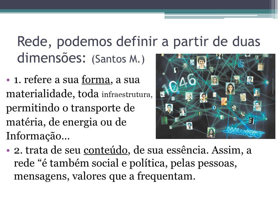 Rede, podemos definir a partir de duas dimensões: (Santos M.) 1.