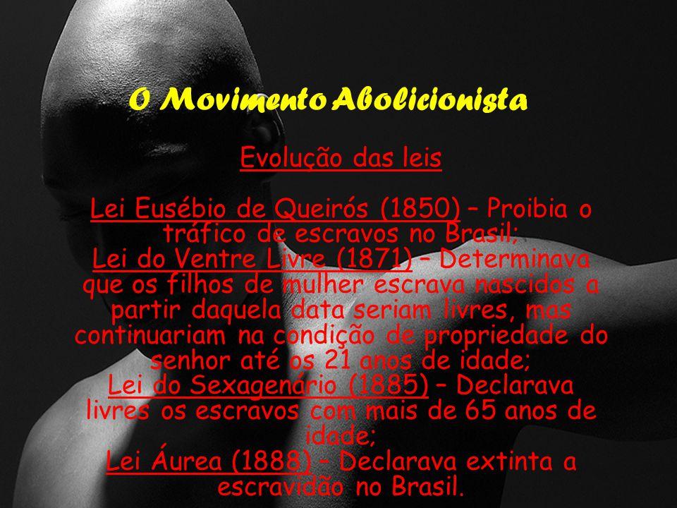 O Movimento Abolicionista Evolução das leis Lei Eusébio de Queirós (1850) – Proibia o tráfico de escravos no Brasil; Lei do Ventre Livre (1871) – Determinava que os filhos de mulher escrava nascidos a partir daquela data seriam livres, mas continuariam na condição de propriedade do senhor até os 21 anos de idade; Lei do Sexagenário (1885) – Declarava livres os escravos com mais de 65 anos de idade; Lei Áurea (1888) – Declarava extinta a escravidão no Brasil.