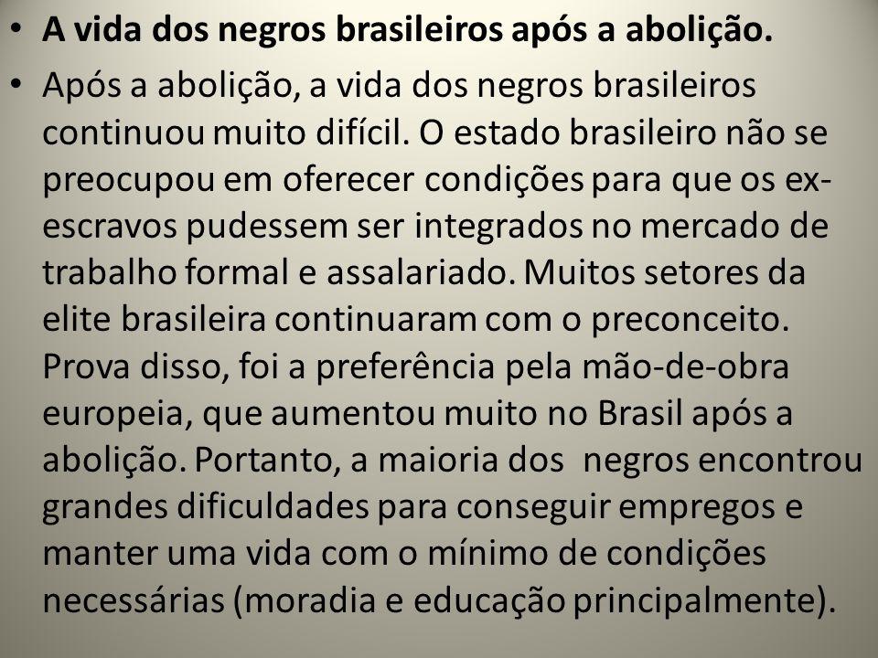 A vida dos negros brasileiros após a abolição.