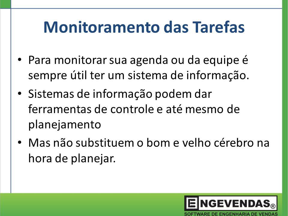 Monitoramento das Tarefas Para monitorar sua agenda ou da equipe é sempre útil ter um sistema de informação. Sistemas de informação podem dar ferramen