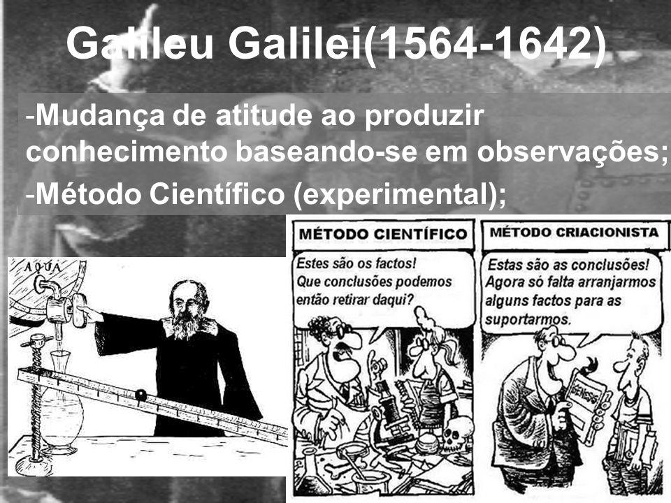 -Mudança de atitude ao produzir conhecimento baseando-se em observações; -Método Científico (experimental);