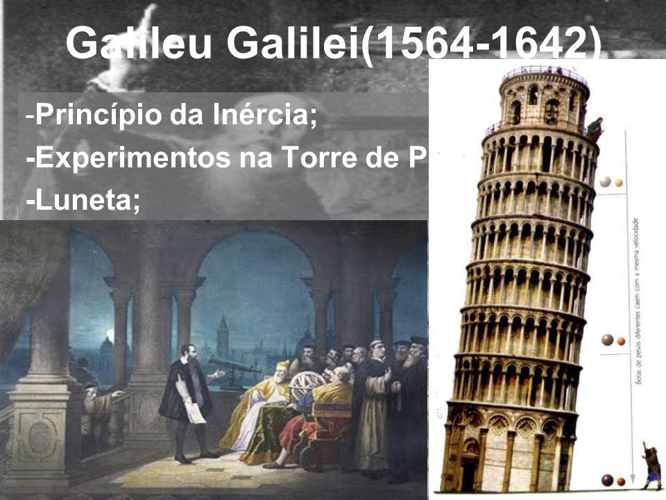 Galileu Galilei(1564-1642) -Princípio da Inércia; -Experimentos na Torre de Pisa (???); -Luneta;