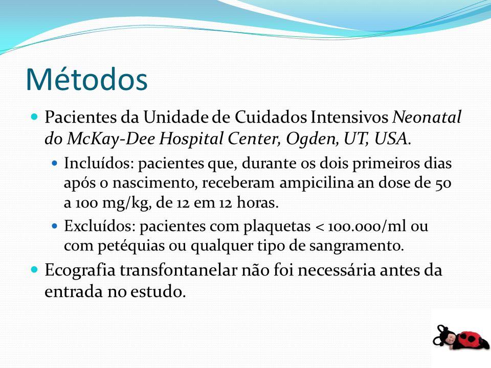 Métodos Pacientes da Unidade de Cuidados Intensivos Neonatal do McKay-Dee Hospital Center, Ogden, UT, USA. Incluídos: pacientes que, durante os dois p