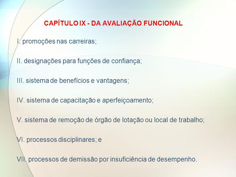 CAPÍTULO IX - DA AVALIAÇÃO FUNCIONAL I.promoções nas carreiras; II.