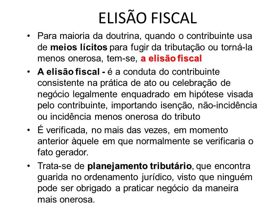 ELISÃO FISCAL a elisão fiscalPara maioria da doutrina, quando o contribuinte usa de meios lícitos para fugir da tributação ou torná-la menos onerosa,