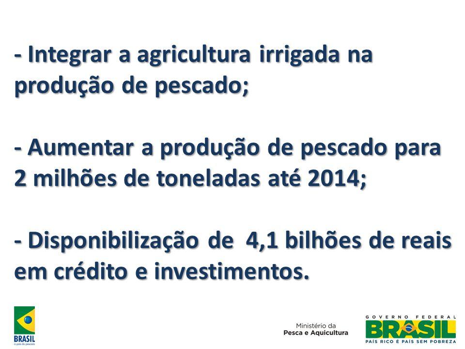 - Integrar a agricultura irrigada na produção de pescado; - Aumentar a produção de pescado para 2 milhões de toneladas até 2014; - Disponibilização de
