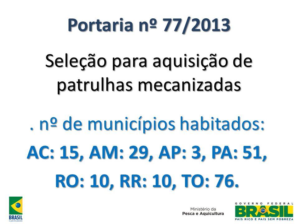 Portaria nº 77/2013 Seleção para aquisição de patrulhas mecanizadas. nº de municípios habitados: AC: 15, AM: 29, AP: 3, PA: 51, RO: 10, RR: 10, TO: 76