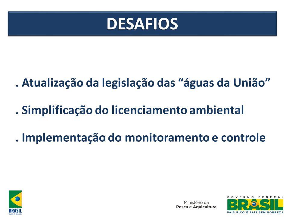 DESAFIOSDESAFIOS. Atualização da legislação das águas da União. Simplificação do licenciamento ambiental. Implementação do monitoramento e controle