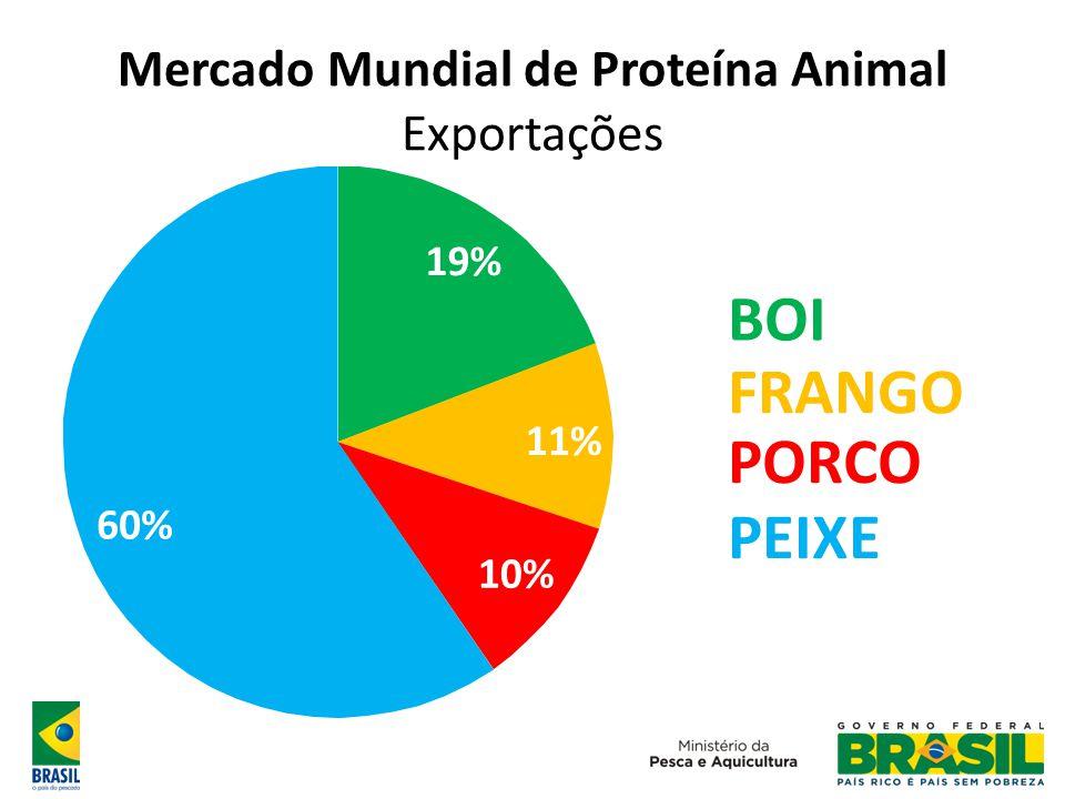 19% 11% 60% 19% 11% 10% 60% BOI FRANGO PORCO PEIXE Mercado Mundial de Proteína Animal Exportações