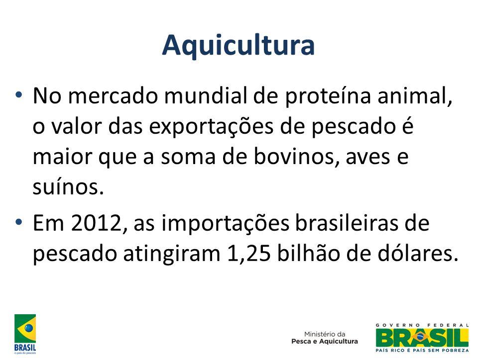 Aquicultura No mercado mundial de proteína animal, o valor das exportações de pescado é maior que a soma de bovinos, aves e suínos. Em 2012, as import