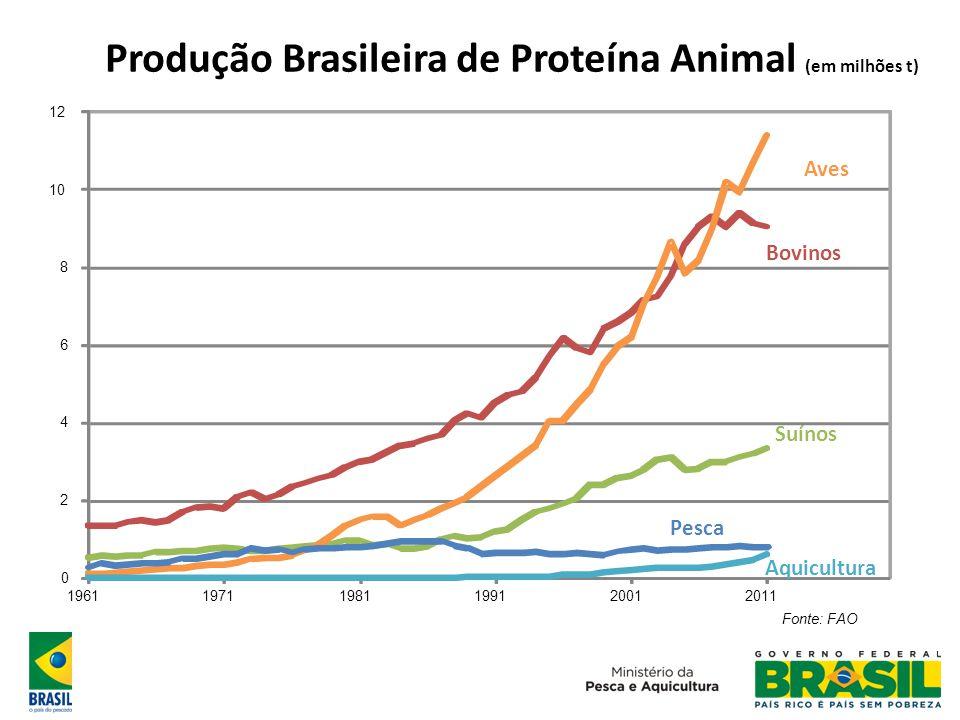 Produção Brasileira de Pescado (em mil t) Fonte: FAO 0 200 400 600 800 1000 1200 1400 1600 196119711981199120012011 Pesca + Aquicultura Pesca Aquicultura