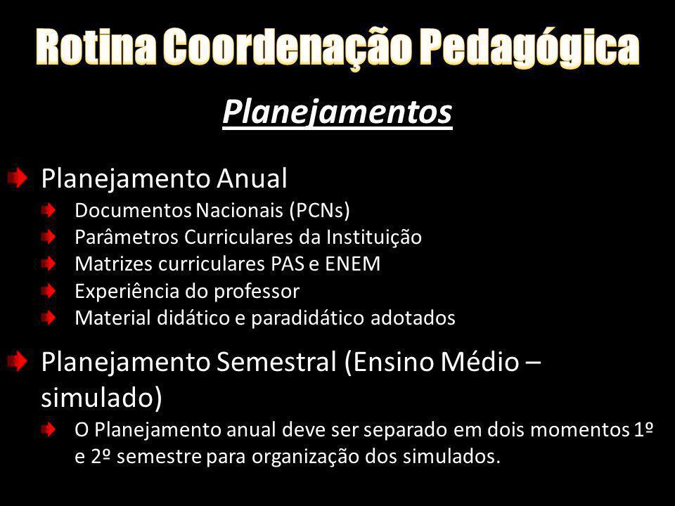 Planejamentos Planejamento Anual Documentos Nacionais (PCNs) Parâmetros Curriculares da Instituição Matrizes curriculares PAS e ENEM Experiência do pr