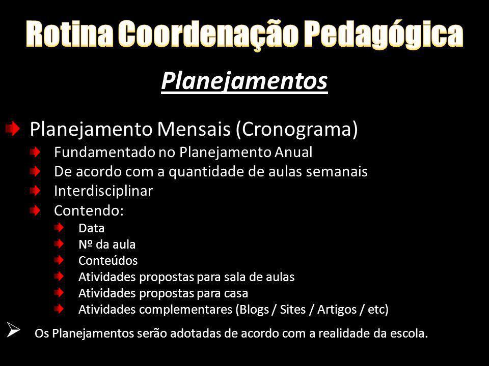 Planejamentos Planejamento Mensais (Cronograma) Fundamentado no Planejamento Anual De acordo com a quantidade de aulas semanais Interdisciplinar Conte