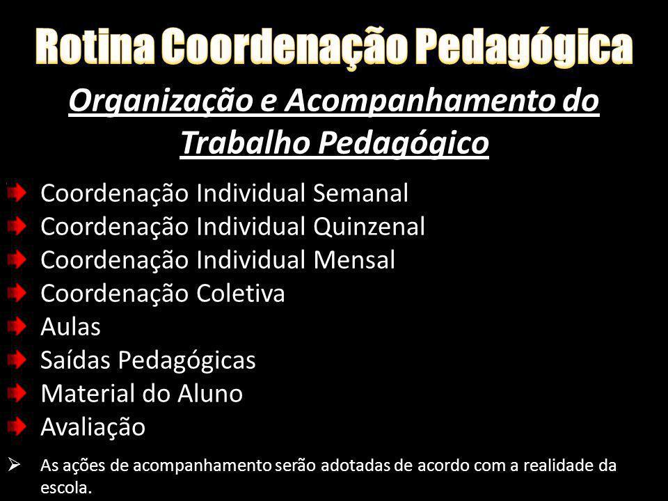 Organização e Acompanhamento do Trabalho Pedagógico Coordenação Individual Semanal Coordenação Individual Quinzenal Coordenação Individual Mensal Coor