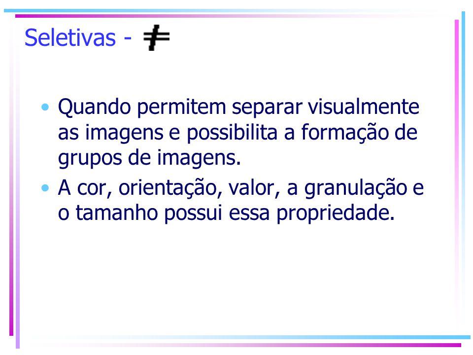 Seletivas - Quando permitem separar visualmente as imagens e possibilita a formação de grupos de imagens. A cor, orientação, valor, a granulação e o t