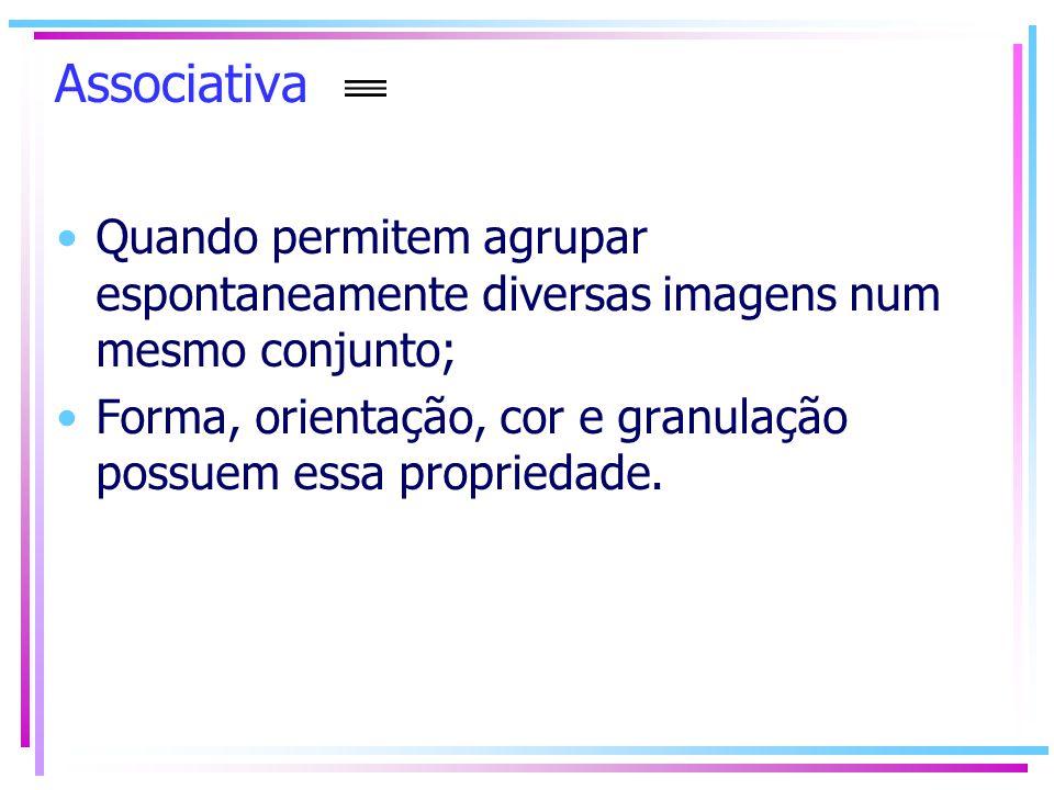 Associativa Quando permitem agrupar espontaneamente diversas imagens num mesmo conjunto; Forma, orientação, cor e granulação possuem essa propriedade.