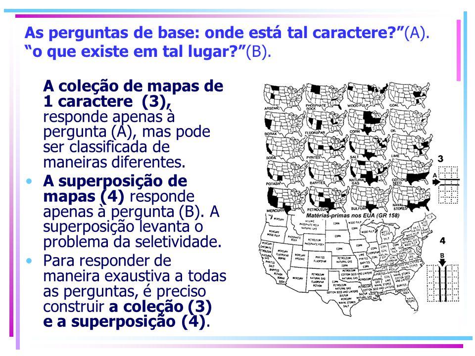 As perguntas de base: onde está tal caractere?(A). o que existe em tal lugar?(B). A coleção de mapas de 1 caractere (3), responde apenas à pergunta (A