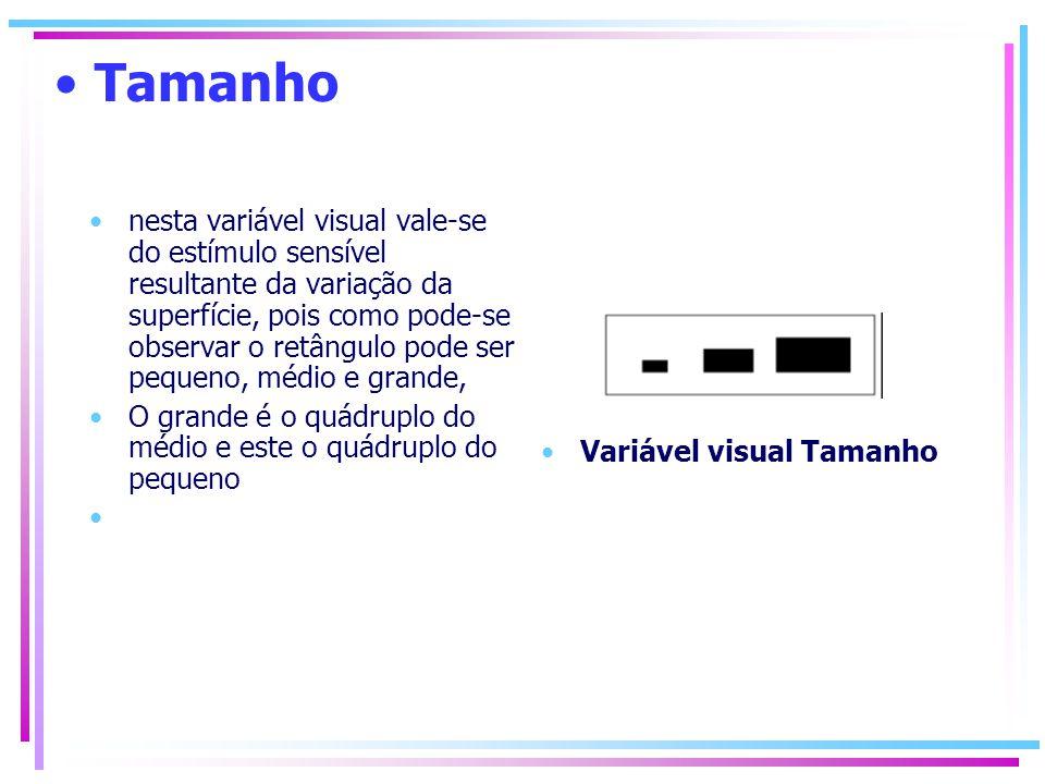 Valor Valor sensível à intensidade, vai do claro para o escuro Pressupõe a variação da tonalidade ou sequência monocromática Variável Visual Valor