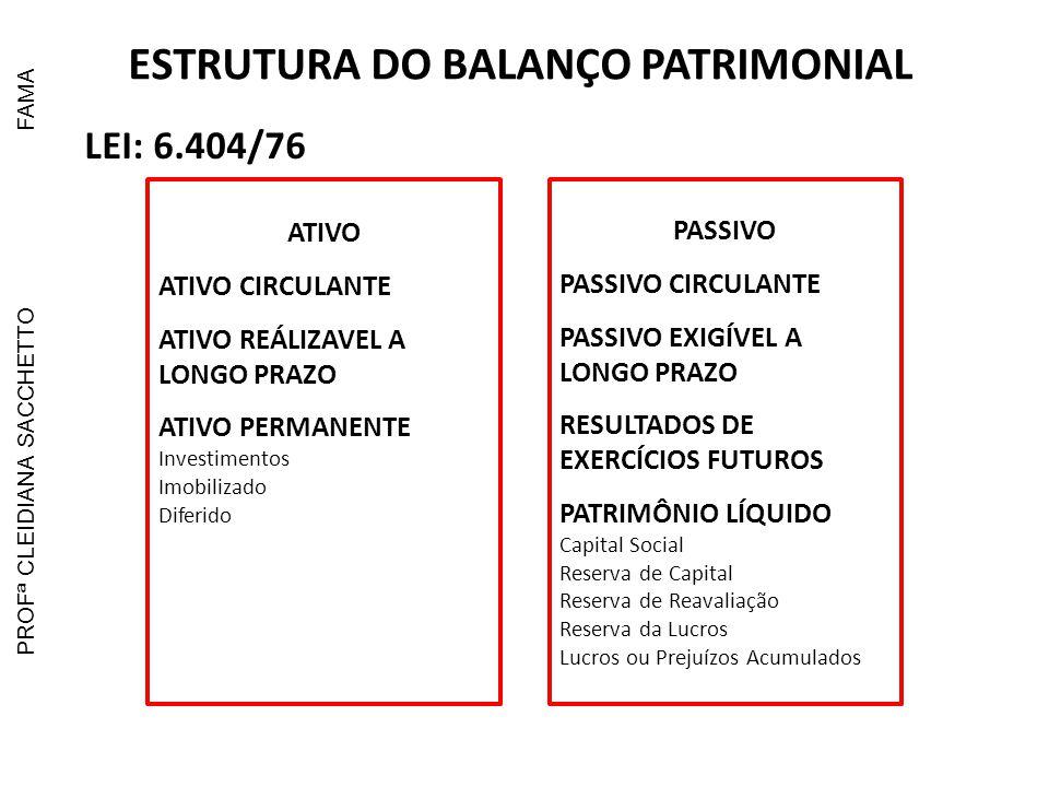 ESTRUTURA DO BALANÇO PATRIMONIAL LEI: 11.638/07 ATIVO ATIVO CIRCULANTE ATIVO NÃO CIRCULANTE Realizável a Longo Prazo Permanente Investimentos Imobilizado Intangível Diferido PASSIVO PASSIVO CIRCULANTE PASSIVO NÃO CIRCULANTE Exigível a Longo Prazo RESULTADOS DE EXERCÍCIOS FUTUROS PATRIMÔNIO LÍQUIDO Capital Social Reserva de Capital Ajustes de Avaliação Patrimonial Reserva da Lucros Prejuízos Acumulados PROFª CLEIDIANA SACCHETTOFAMA