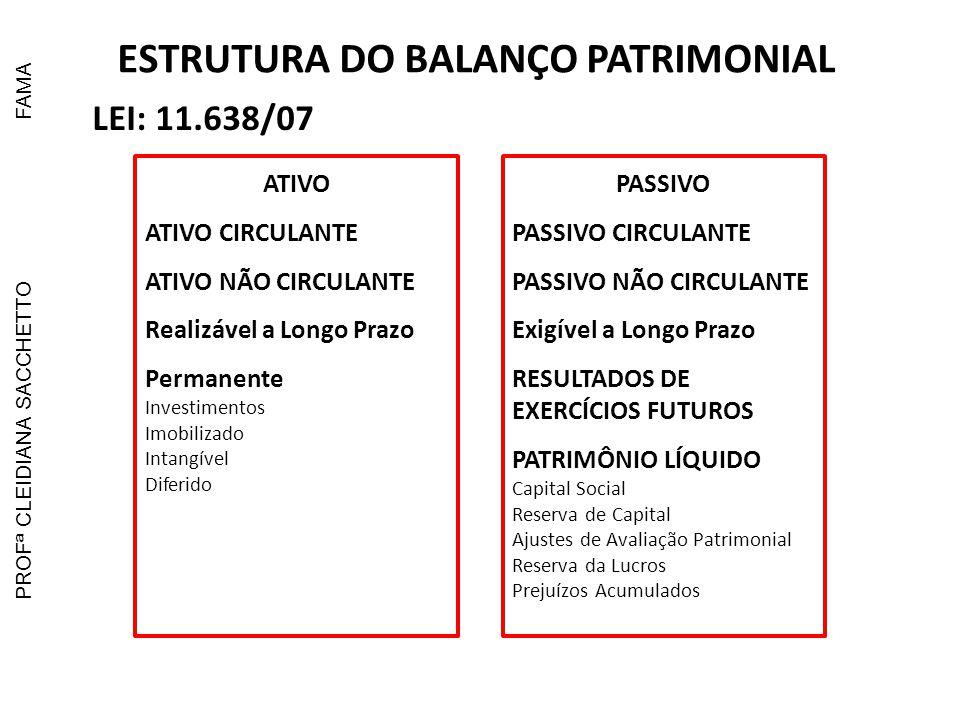 ESTRUTURA DO BALANÇO PATRIMONIAL LEI: 11.941/09 ATIVO ATIVO CIRCULANTE ATIVO NÃO CIRCULANTE Realizável a Longo Prazo Investimentos Imobilizado Intangível PASSIVO PASSIVO CIRCULANTE PASSIVO NÃO CIRCULANTE Exigível a Longo Prazo PATRIMÔNIO LÍQUIDO Capital Social Reserva de Capital Ajustes de Avaliação Patrimonial Reserva da Lucros Prejuízos Acumulados PROFª CLEIDIANA SACCHETTOFAMA