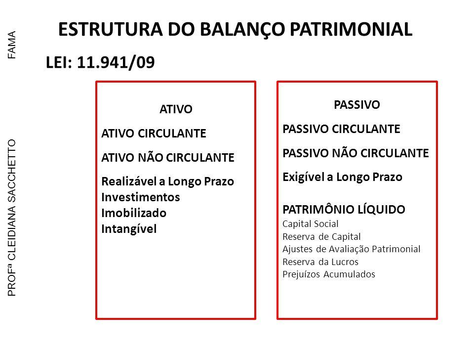 ESTRUTURA DO BALANÇO PATRIMONIAL LEI: 11.941/09 ATIVO ATIVO CIRCULANTE ATIVO NÃO CIRCULANTE Realizável a Longo Prazo Investimentos Imobilizado Intangí