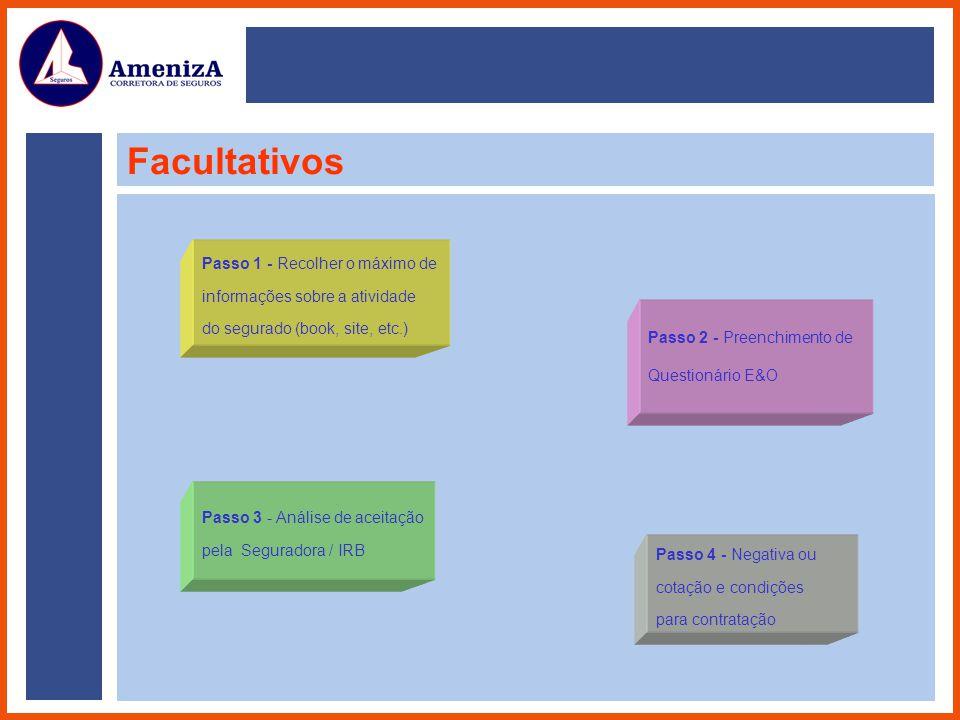Passo 1 - Recolher o máximo de informações sobre a atividade do segurado (book, site, etc.) Passo 2 - Preenchimento de Questionário E&O Passo 3 - Anál
