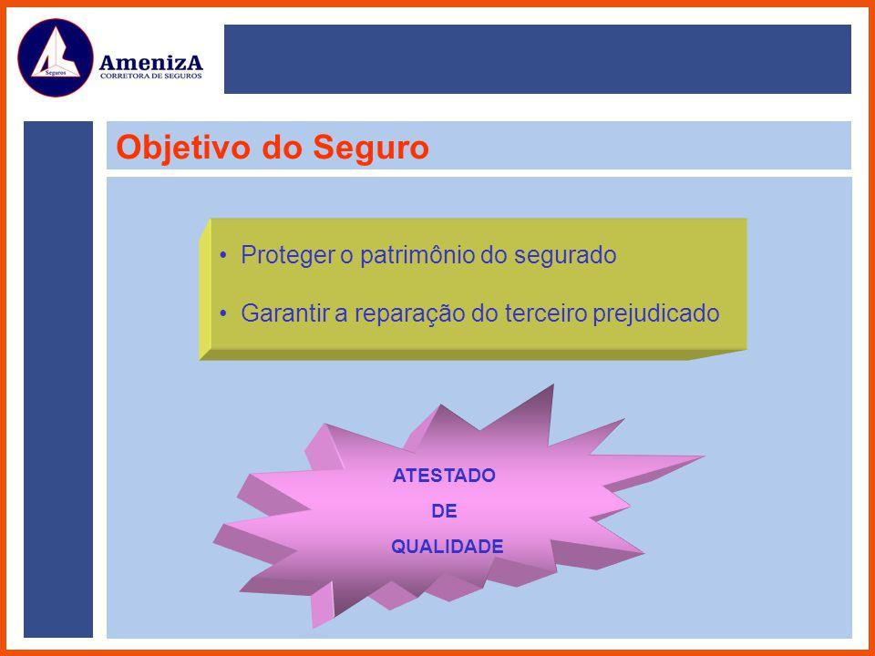 Objetivo do Seguro Proteger o patrimônio do segurado Garantir a reparação do terceiro prejudicado ATESTADO DE QUALIDADE