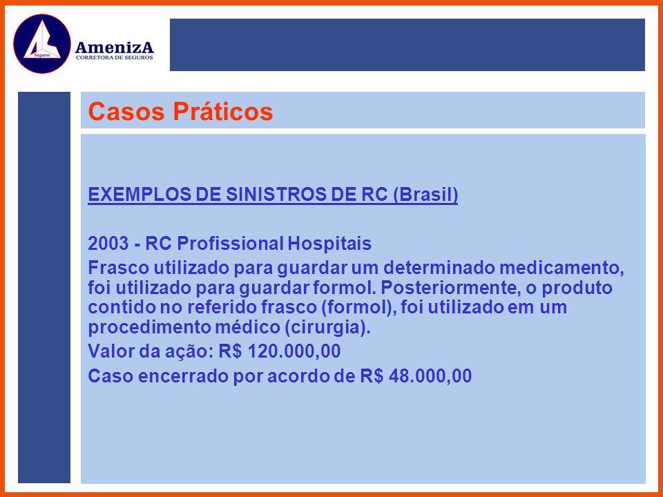 Casos Práticos EXEMPLOS DE SINISTROS DE RC (Brasil) 2003 - RC Profissional Hospitais Frasco utilizado para guardar um determinado medicamento, foi uti