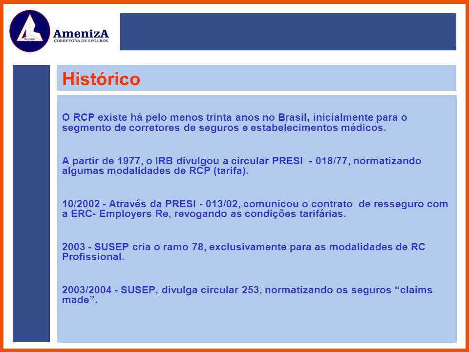 Histórico O RCP existe há pelo menos trinta anos no Brasil, inicialmente para o segmento de corretores de seguros e estabelecimentos médicos. A partir