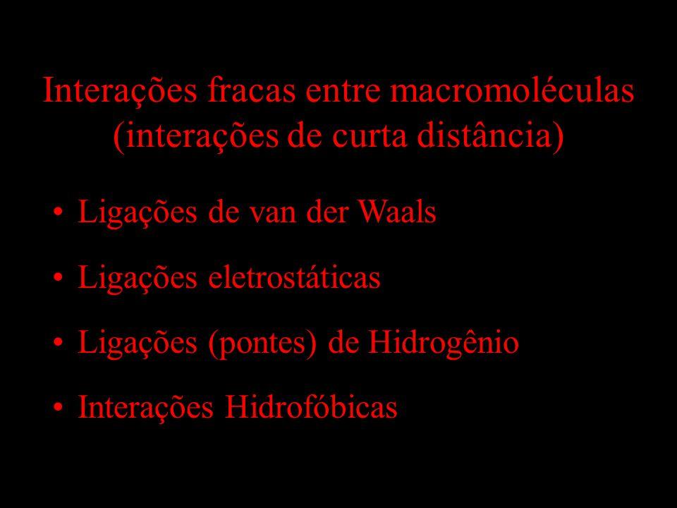 Interações fracas entre macromoléculas (interações de curta distância) Ligações de van der Waals Ligações eletrostáticas Ligações (pontes) de Hidrogên
