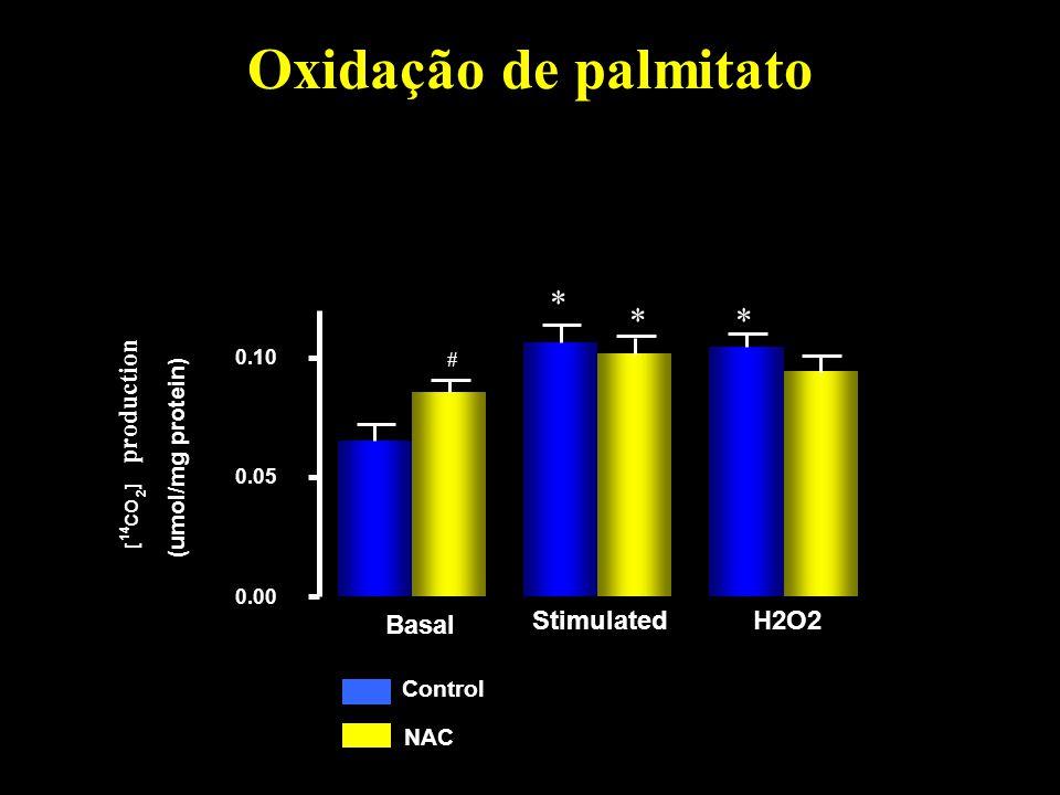 Oxidação de palmitato 0.00 0.05 0.10 [ 14 CO 2 ] (umol/mg protein) production Control NAC Basal Stimulated H2O2 * ** #