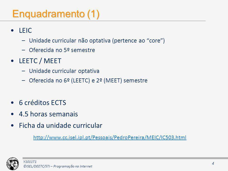 Y1011T1 ©ISEL/DEETC/STI – Programação na Internet Enquadramento (1) LEIC –Unidade curricular não optativa (pertence ao core) –Oferecida no 5º semestre