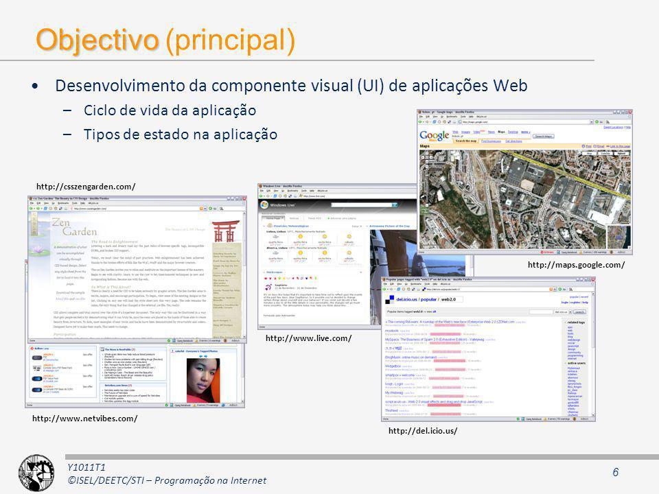 Y1011T1 ©ISEL/DEETC/STI – Programação na Internet Objectivo Objectivo (principal) Desenvolvimento da componente visual (UI) de aplicações Web –Ciclo d
